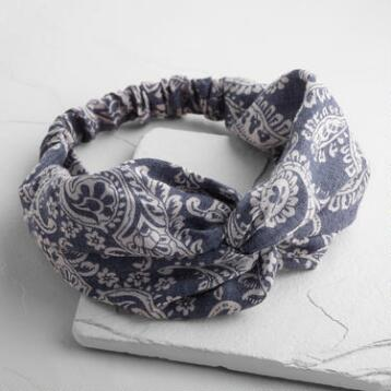 Blue Denim Bandana Turban Headband